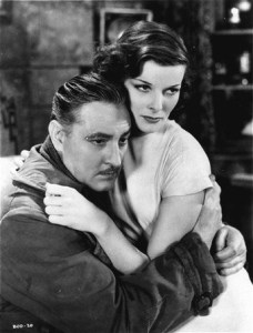 Screen actress Katharine Hepburn appears in her film debut opposite John Barrymore in this photo provided by RKO from the 1932 film,