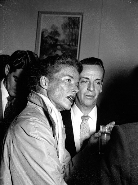 Katharine Hepburn and Robert Helpmann at reception at the Hotel Australia on 4 May 1955