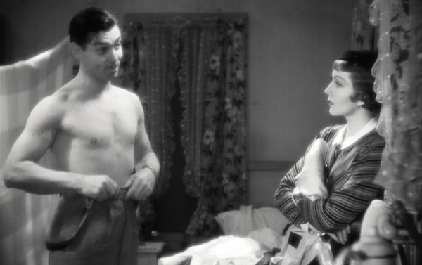 it-happened-one-night-1934-movie-peter-warne-ellie-andrews-in-hotel-shirtless-clark-gable-claudette-colbert-academy-award-review
