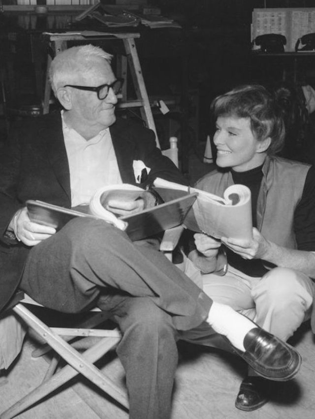 Spencer Tracy photographed between scenes with Katharine Hepburn in the Columbia picture Guess Who's Coming to Dinner, 1967